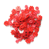 Craft Buttons - Red Flowers (2.5g Pack)
