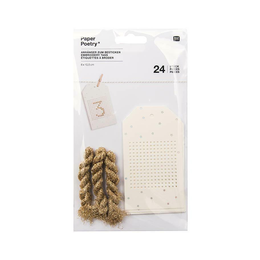 24 Rico Stitchable Advent Calendar Gift Tags - Cream & Silver