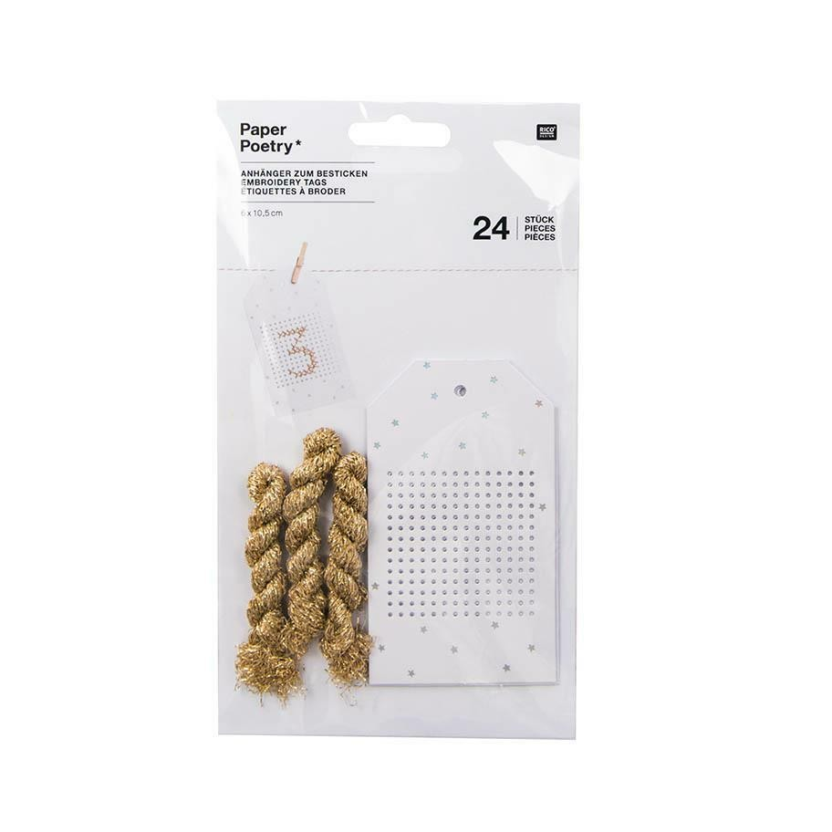 24 Rico Stitchable Advent Calendar Gift Tags - White & Gold