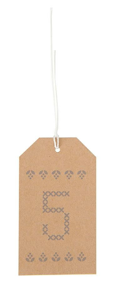 24 Rico Stitchable Advent Calendar Gift Tags - Brown