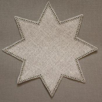 20cm Star Crochet Doilies - White/Silver 20cm / 7.5in