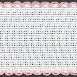2in / 5cm White / Pink Edged Aida Band - 1m