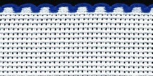 1in / 2.5cm White / Royal Blue Edged Aida Band - 1m