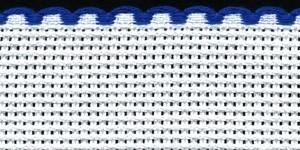 3in / 8cm White / Royal Blue Edged Aida Band - 1m