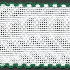 2in / 5cm White / Green Edged Aida Band - 1m