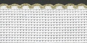 4in / 10cm White / Gold Edged Aida Band - 1m