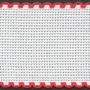 2in / 5cm White / Red Edged Aida Band - 1m