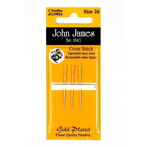 John James Gold Plated Tapestry Needles - Size 22