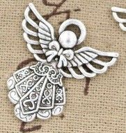 Large Angel Silver Tone Charms 2 Pack