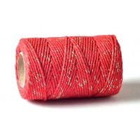 Baker's Twine Red With Gold Sparkle 100m Roll