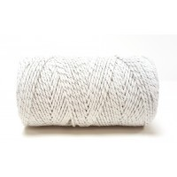 Baker's Twine White With Silver Sparkle 100m Roll