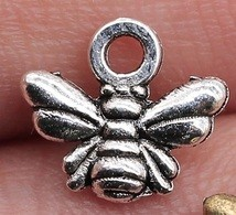 Small Bee Silver Tone Charms 3 Pack