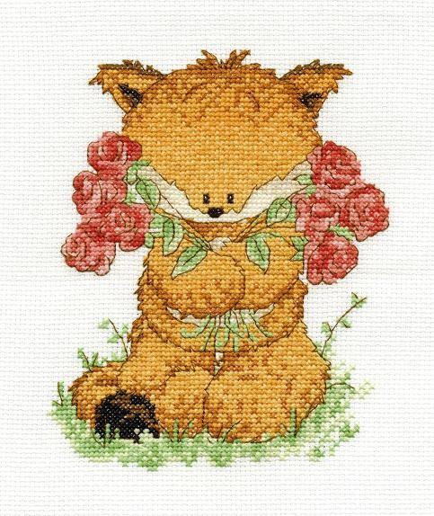 BK1197 - Woodland Folk - Toby Fox with Roses Cross Stitch Kit