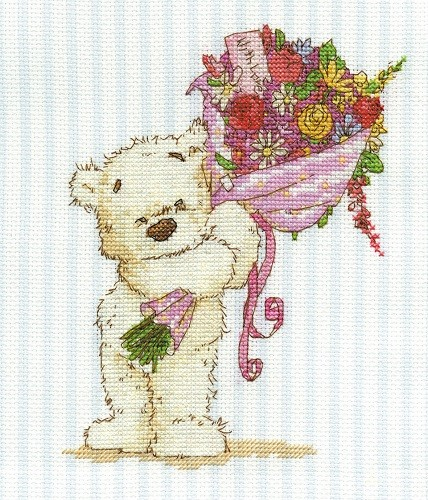 BL852/54 - Lickle Ted With a Lickle Affection Cross Stitch Kit