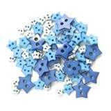 Craft Buttons - Blue Stars (2.5g Pack)