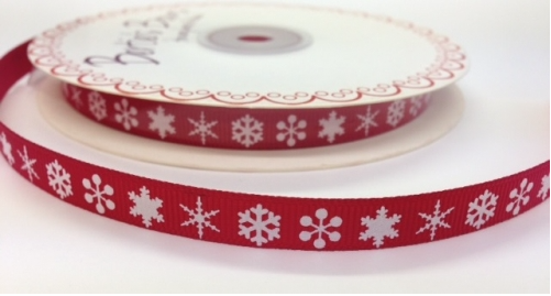 BTB051 - 9mm White Snowflake on Red Grosgrain Ribbon