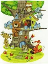 BK1680 - Fabulous Forest Collection - Building the Treehouse Cross Stitch Kit