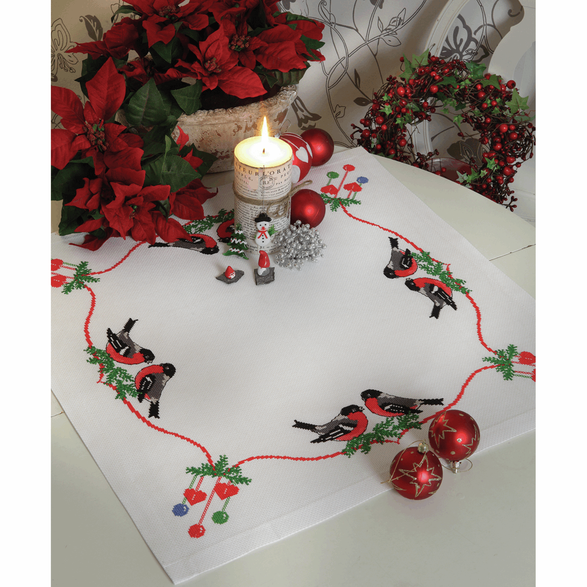 Anchor Cross Stitch Kit - Bullfinches and Christmas Decorations Tablecloth