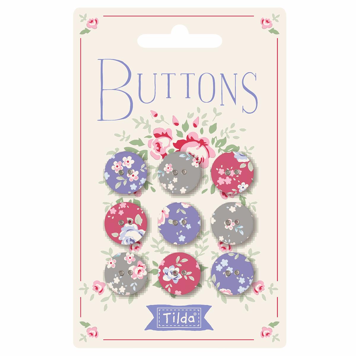 Plum Garden Fabric Covered Buttons 15mm