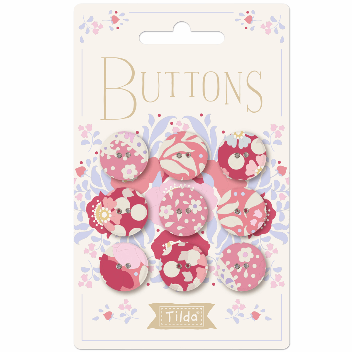 Plum Garden Fabric Covered Buttons 17mm