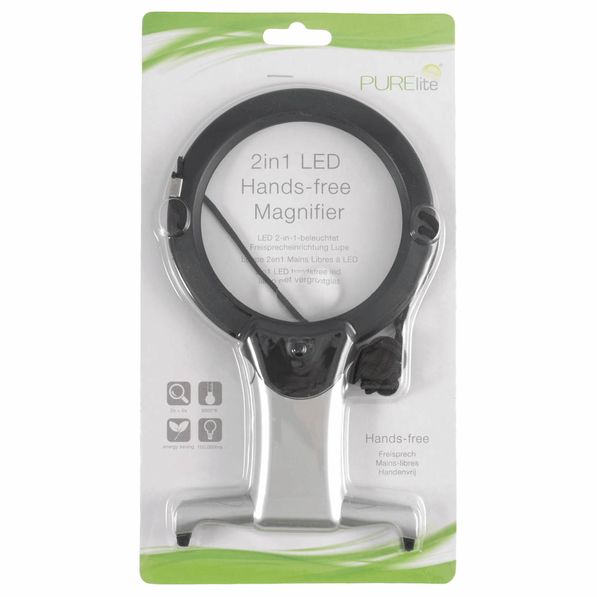 Magnifier Illuminated Hands-Free 2-in-1