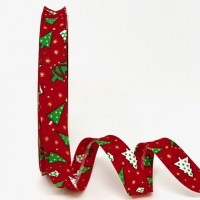 18mm Red Christmas Tree Print Bias Binding