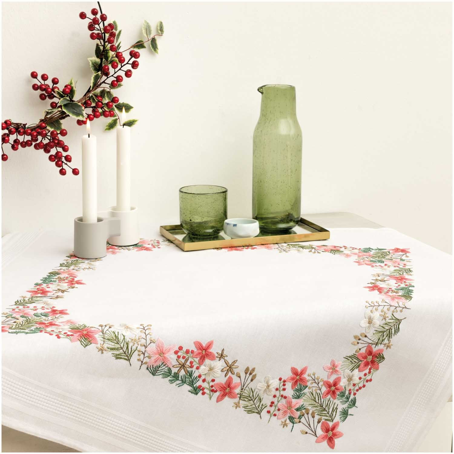 Rico Christmas Flower Embroidery Table Cloth Kit
