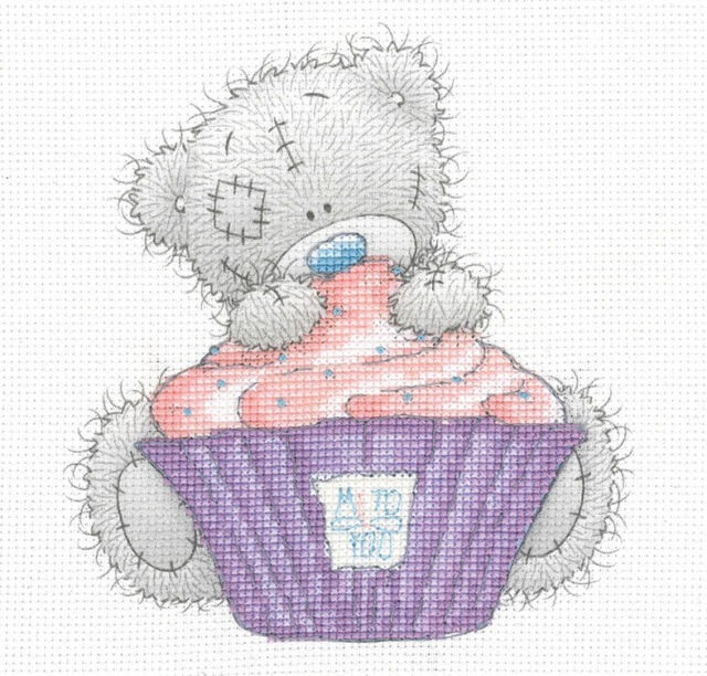 DMC BL1139/72 - Me to You Tatty Teddy Cupcake Printed Cross Stitch Kit