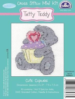 BL07DE/72 - Me to You Tatty Teddy Cute Cupcake Mini  Cross Stitch Kit