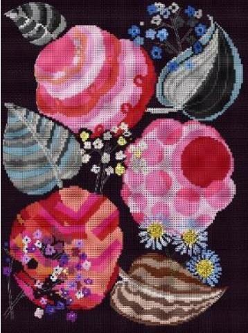 BL1195/77 - Deco Rose Motif From Relais Cross Stitch Kit