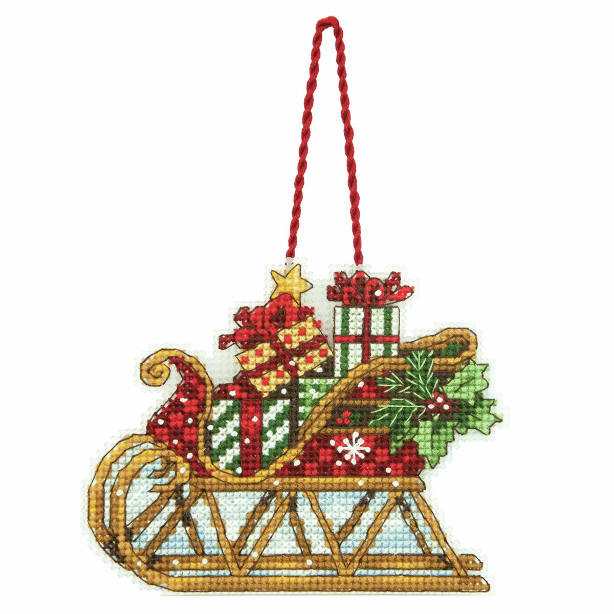Dimensions Sleigh Ornament Cross Stitch Kit