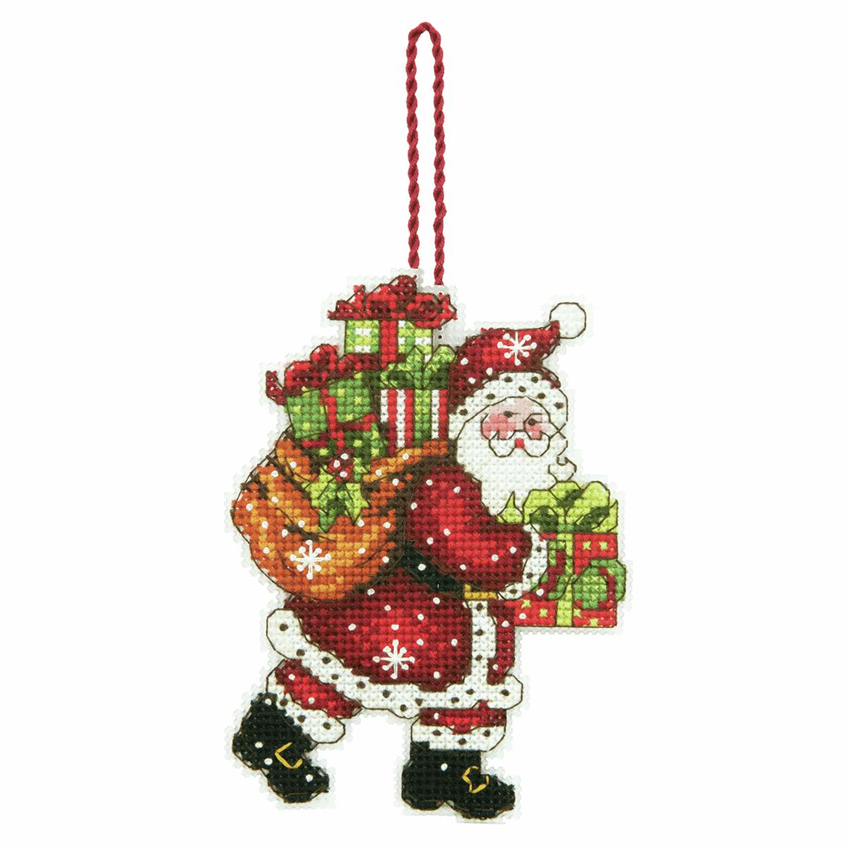 Dimensions Santa With Bag Ornament Cross Stitch Kit