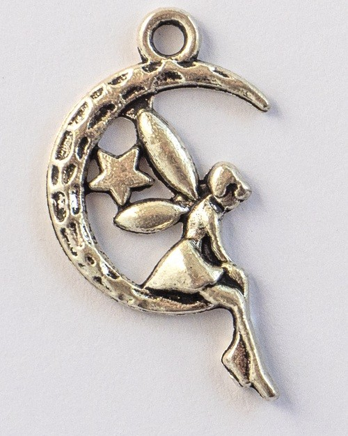 Fairy Moon Silver Tone Charms - 3 Pack