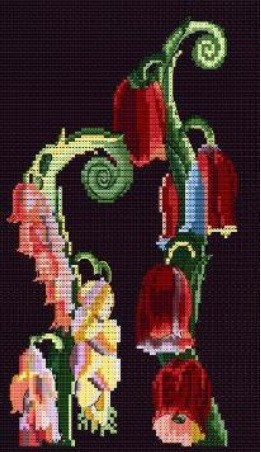 BL1197/77 - Foxglove Motif from Nouvelles Variations Cross Stitch Kit