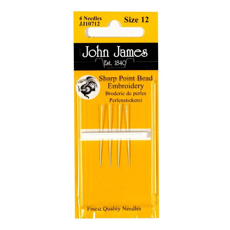 John James Short Beading Needles - Size 12 (4 Needles)