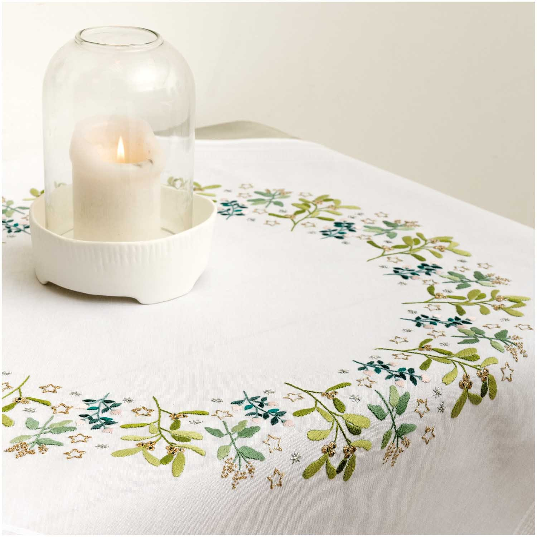 Rico Mistletoe Tablecloth Embroidery Kit