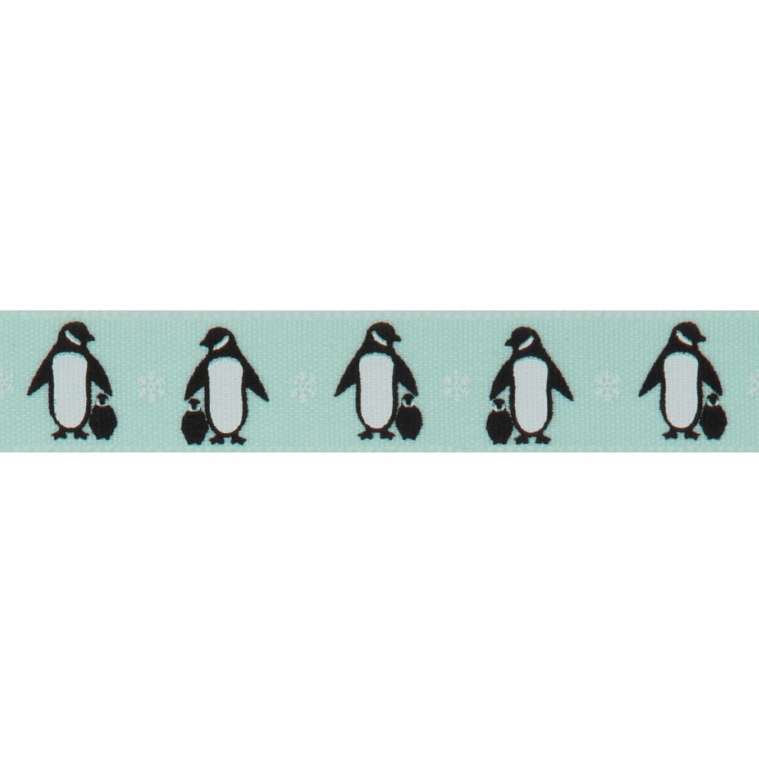 Bertie's Bows 15mm Ribbon Penguins Beach Blue