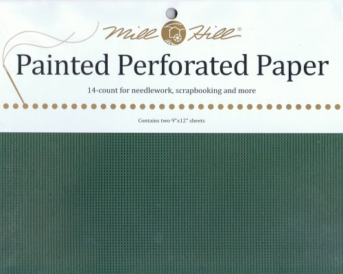 PP19 - Mill Hill Holly Green Perforated Paper