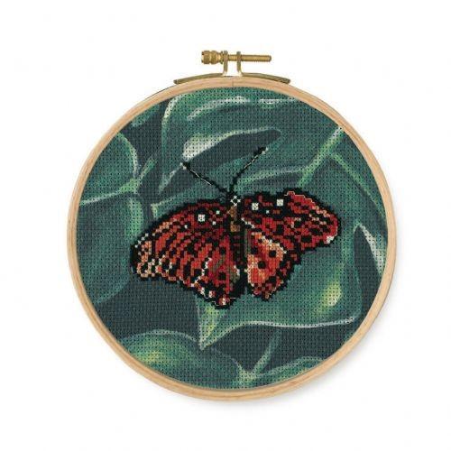 DMC Red Butterfly Printed Cross Stitch Kit - BK1788
