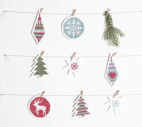 Stitchable Christmas Decorations white - issue 338. Use discount code CHRISTMAS18