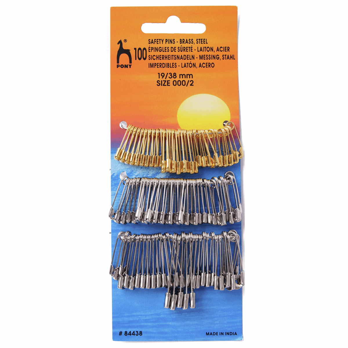 Pony Safety Pins 100Pk Assorted