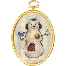 Janlynn 021-1792 -  Snowman and Bluebird Cross Stitch Kit