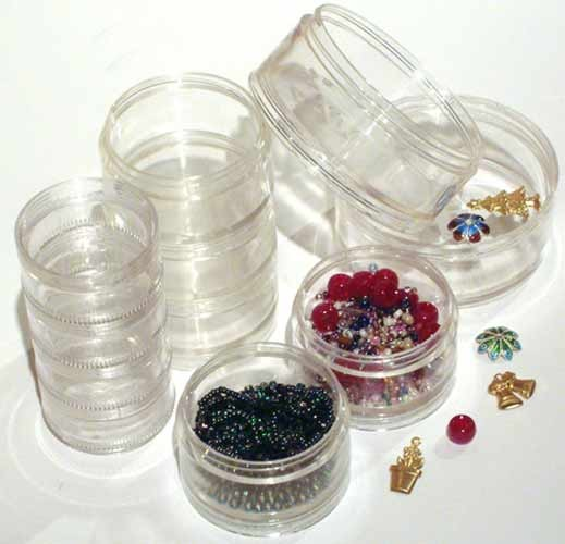 SB40 - Pack of 6x 40mm Clear Plastic Stacker Jars