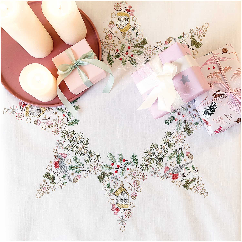 Rico Christmas Star  Embroidery Table Cloth Kit