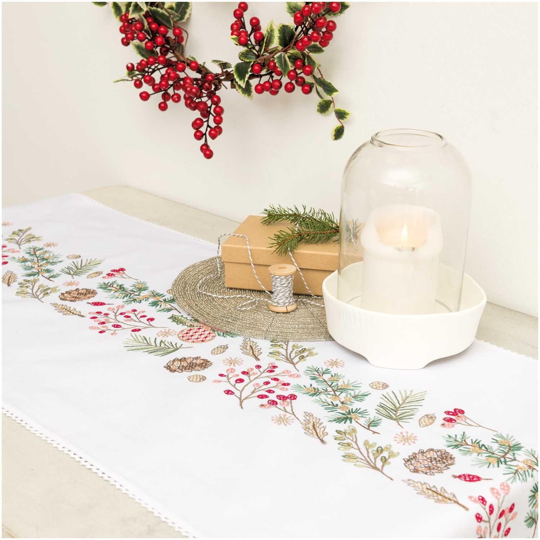 Rico Christmas Fir Table Runner Embroidery Kit
