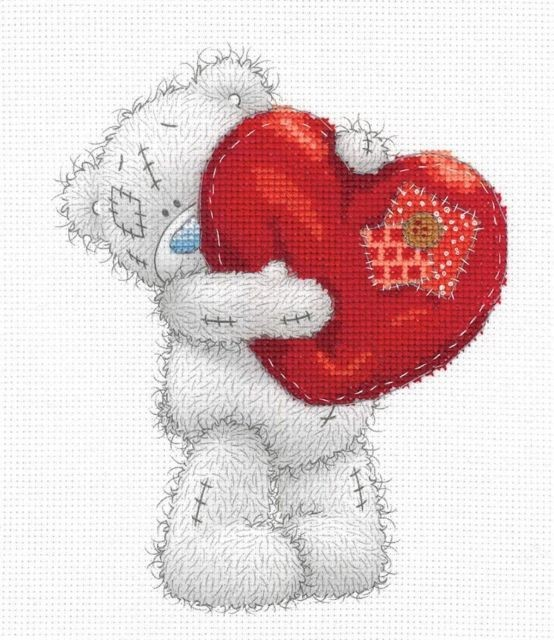 BL1136/72 - Me to You Tatty Teddy Heart Printed Cross Stitch Kit