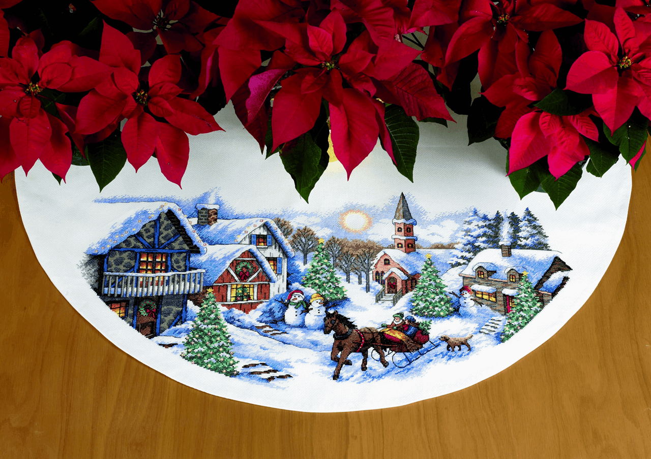 Dimensions Tree Skirt Sleigh Ride Cross Stitch Kit