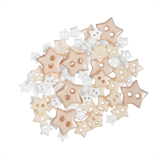 Craft Buttons - White Stars (2.5g Pack)