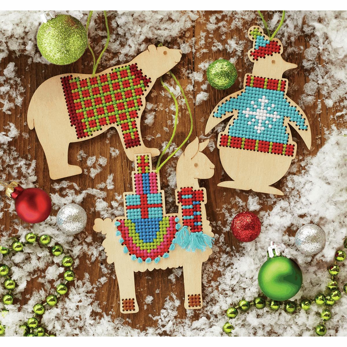 Dimensions Animal Wood Ornaments Cross Stitch Kit