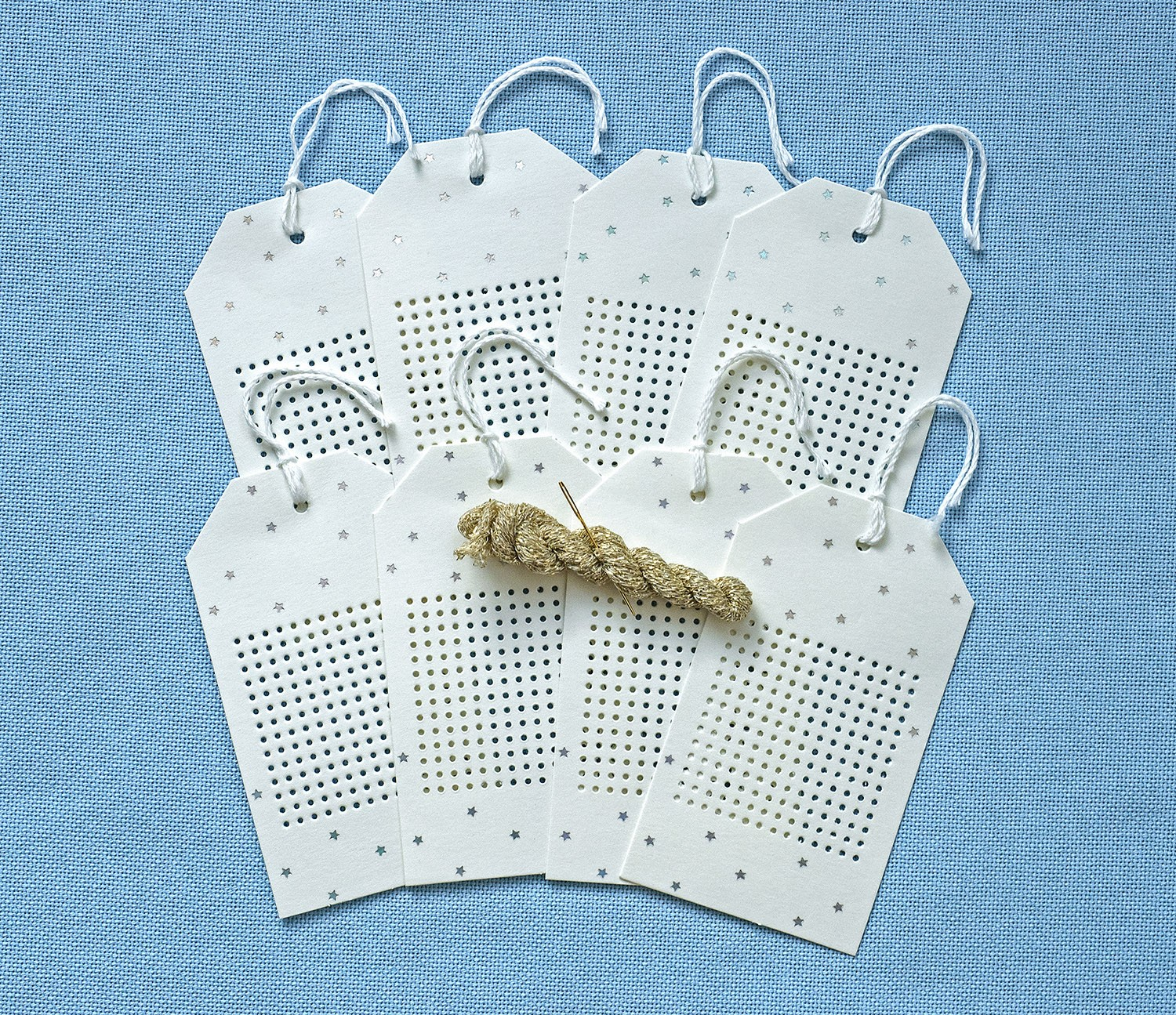 Starry Stitchable Tags Cream/Silver - issue 338. Use discount code CHRISTMAS18